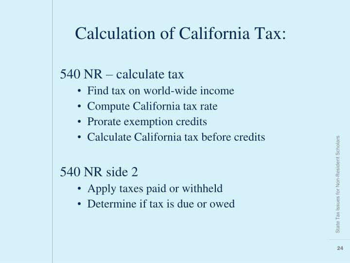 Calculation Of California Tax