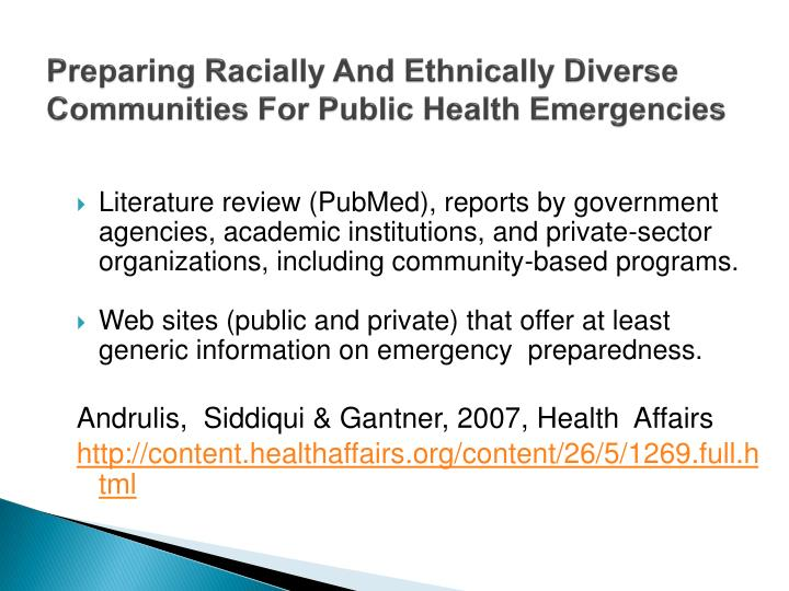 Preparing Racially And Ethnically Diverse Communities For Public Health Emergencies