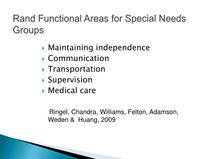 Rand Functional Areas for Special Needs Groups