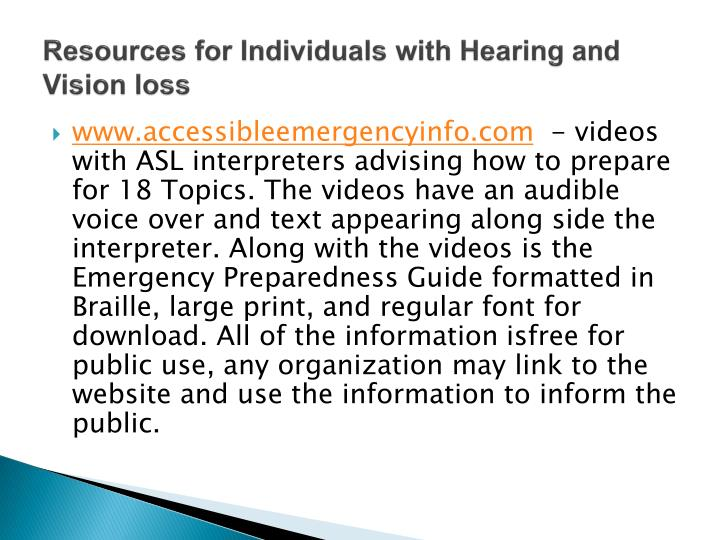 Resources for Individuals with Hearing and Vision loss