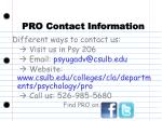 pro contact information