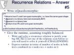 recurrence relations answer 5