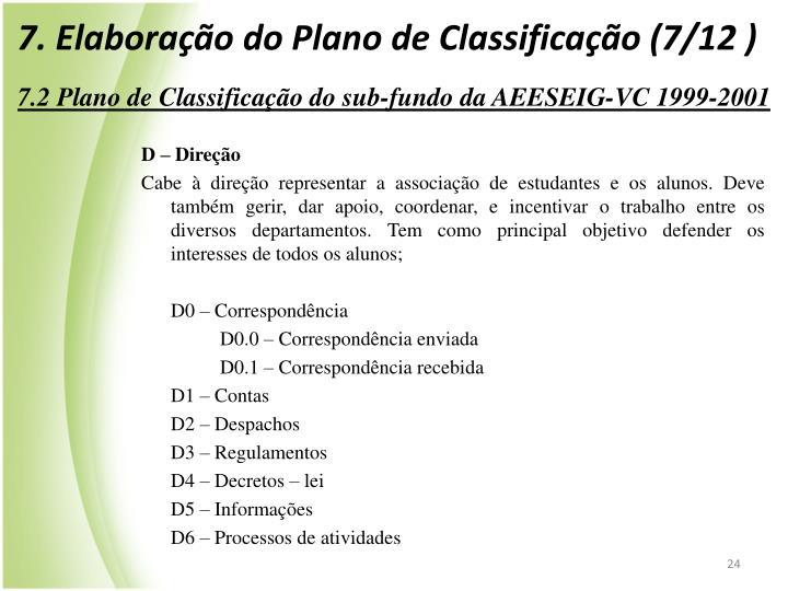 7. Elaboração do Plano de Classificação (7/12 )