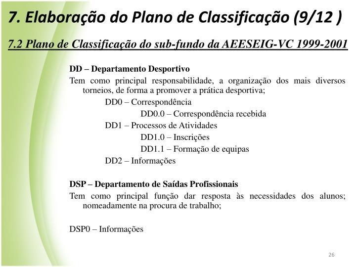 7. Elaboração do Plano de Classificação (9/12 )