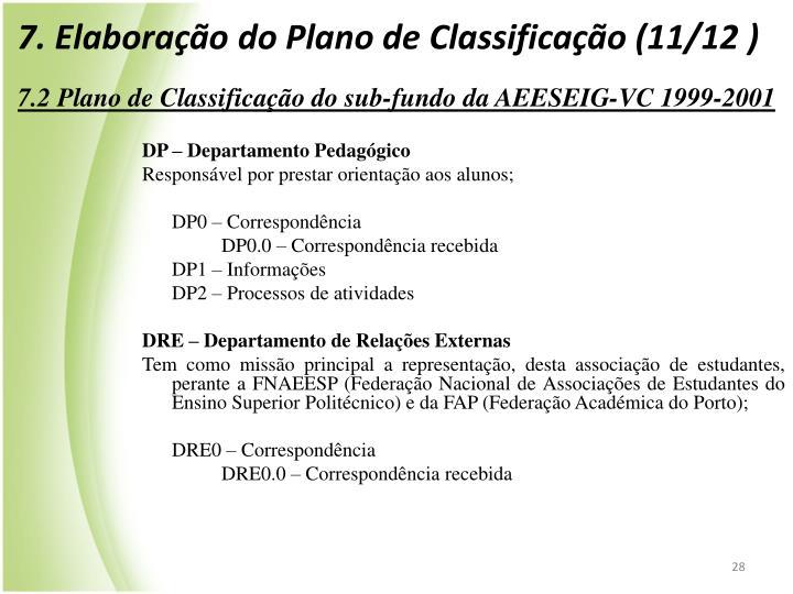 7. Elaboração do Plano de Classificação (11/12 )