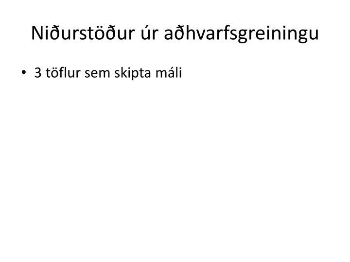 Niðurstöður úr aðhvarfsgreiningu