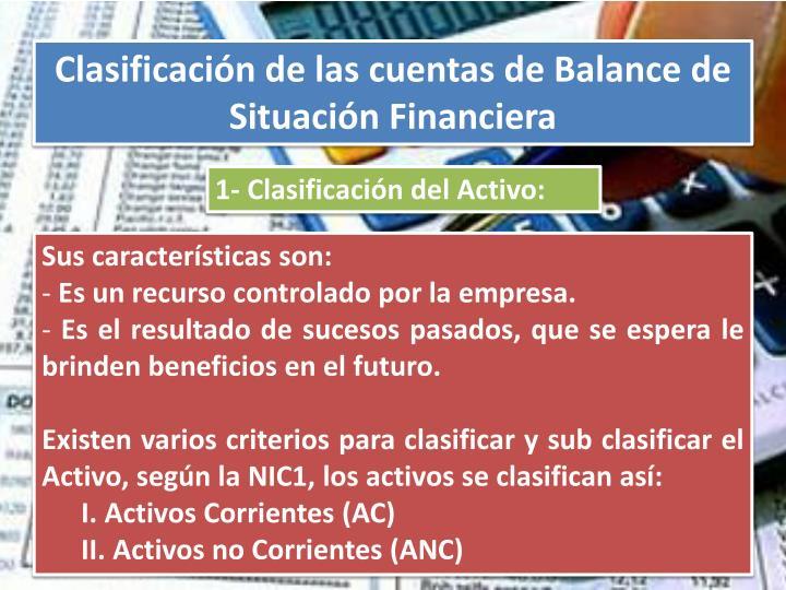 Clasificación de las cuentas de Balance de Situación Financiera