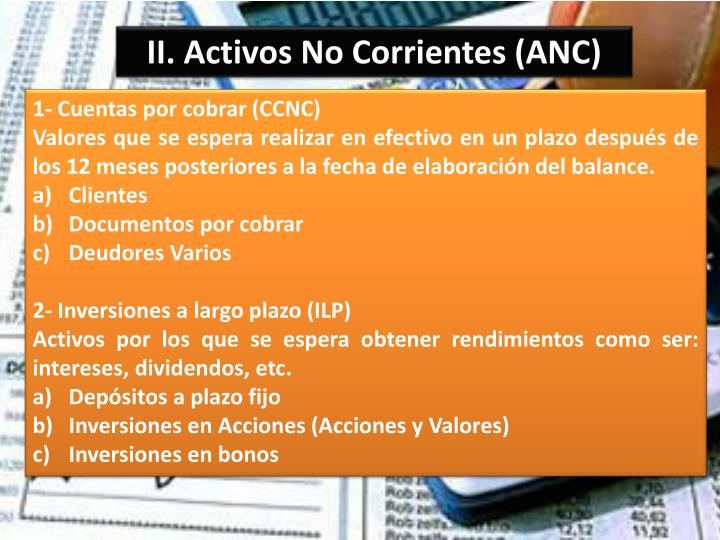 II. Activos No Corrientes (