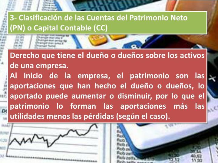 3- Clasificación de las Cuentas del Patrimonio Neto (