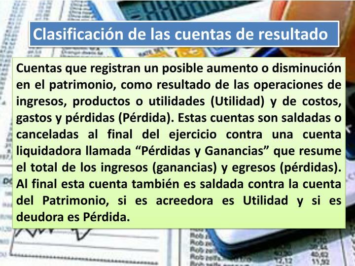 Clasificación de las cuentas de resultado