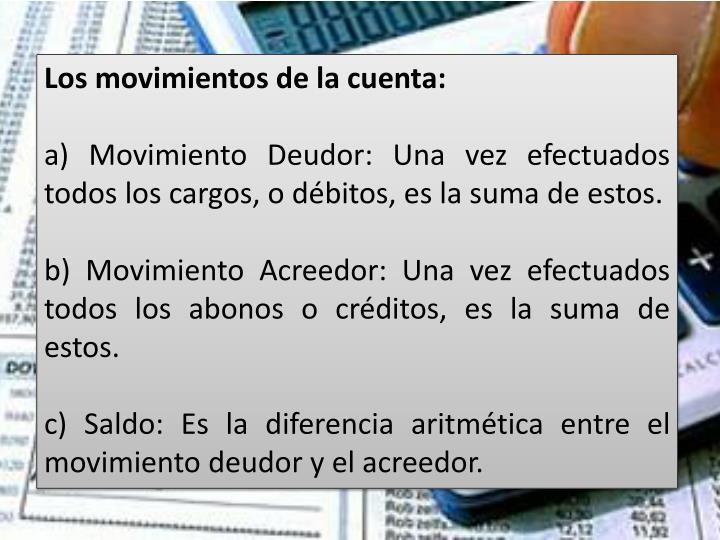 Los movimientos de la cuenta: