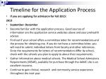 timeline for the application process