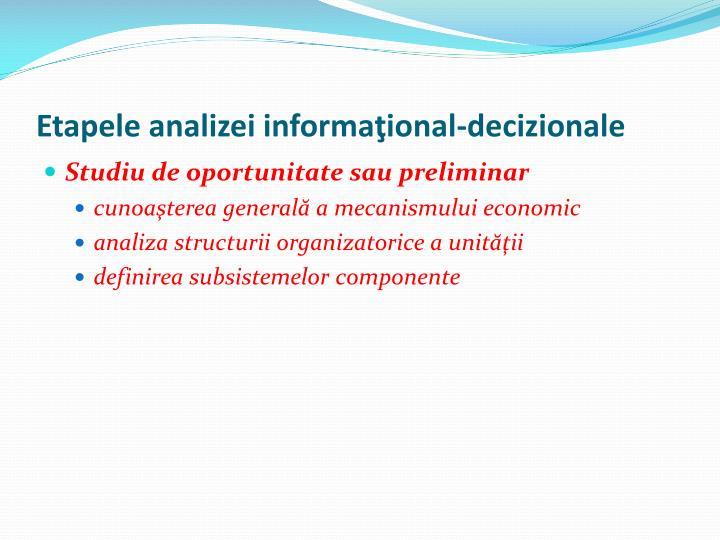 Etapele analizei informaţional-decizionale