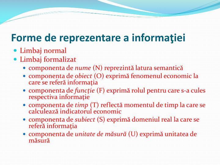 Forme de reprezentare a informaţiei