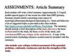 assignments article summary