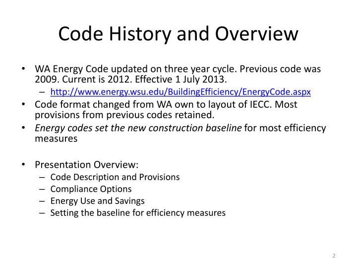 Code history and overview