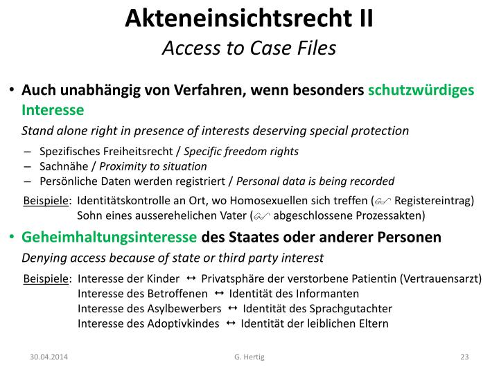 Akteneinsichtsrecht II