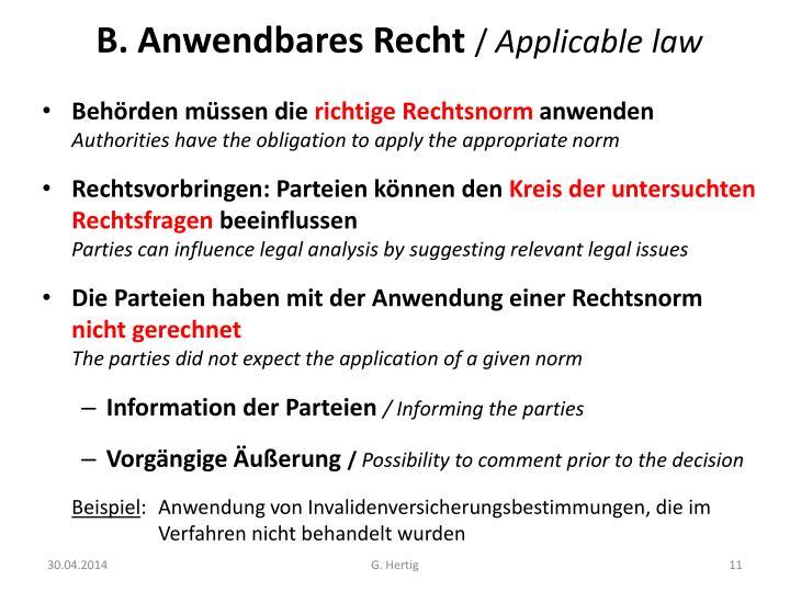 B. Anwendbares Recht