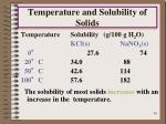 temperature and solubility of solids1