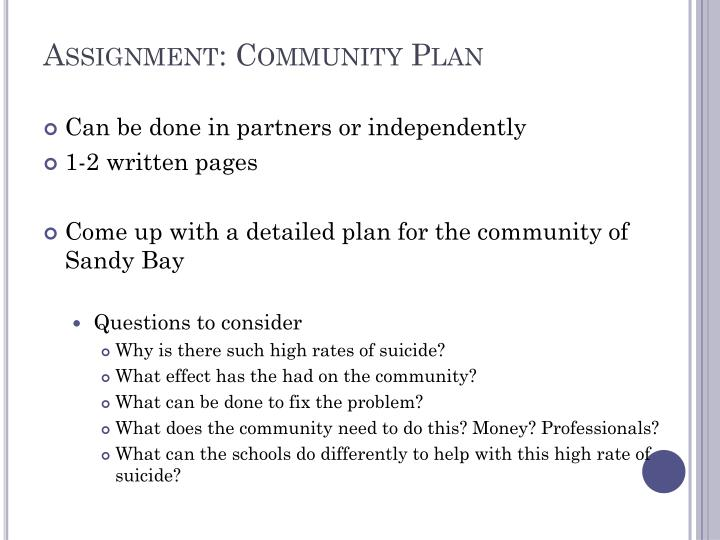 Assignment: Community Plan