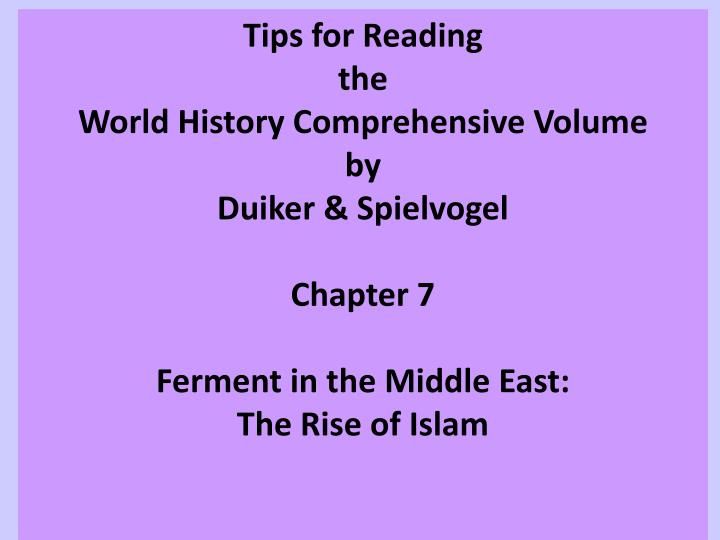 chapter summary islam duiker and spielvogel essay Read and learn for free about the following article: the five pillars of islam if you're seeing this message essay by dr elizabeth macaulay-lewis.