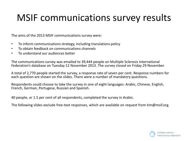 msif communications survey results n.