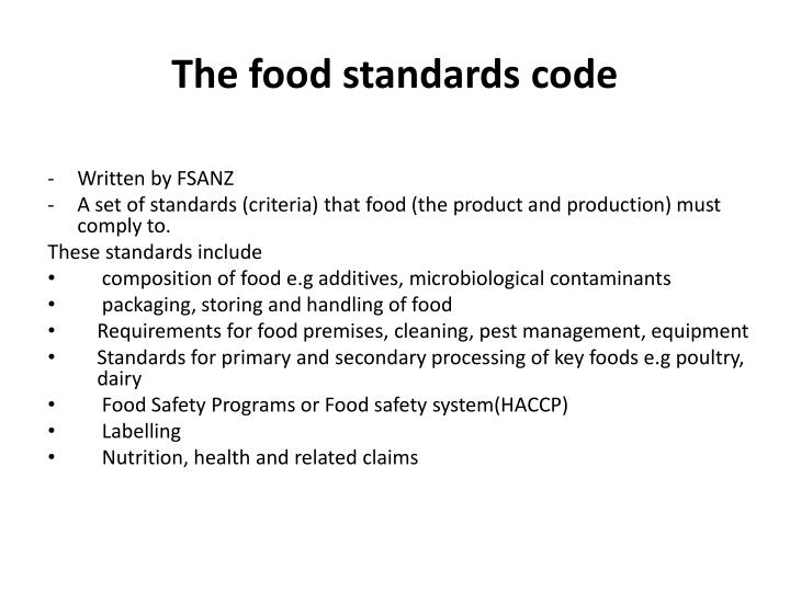 The food standards code