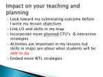 impact on your teaching and planning