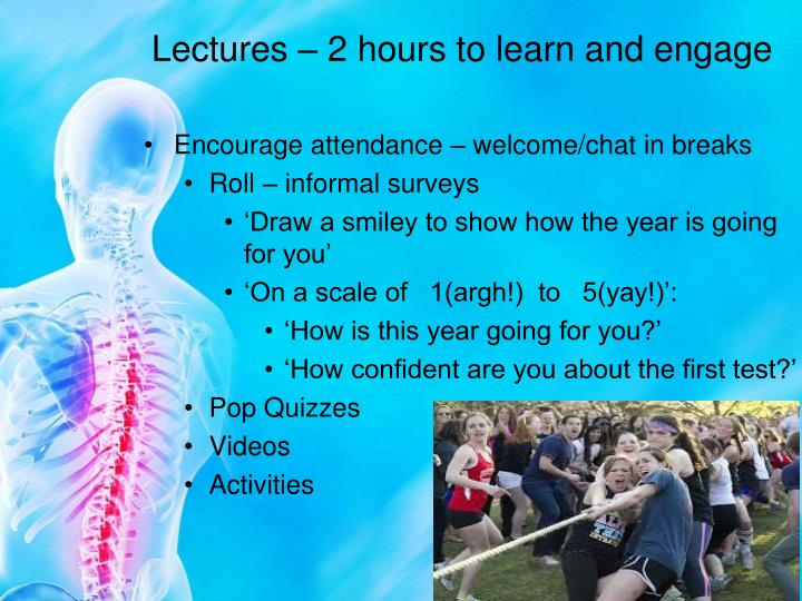 Lectures – 2 hours to learn and engage