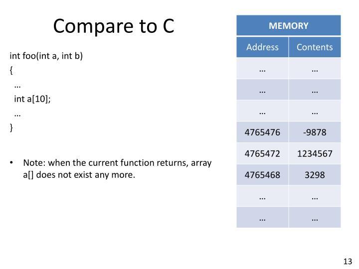 Compare to C