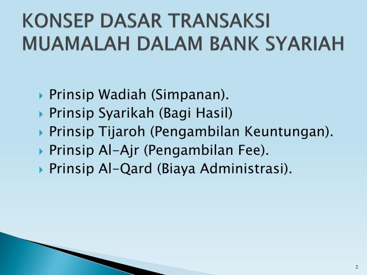 Konsep dasar transaksi muamalah dalam bank syariah