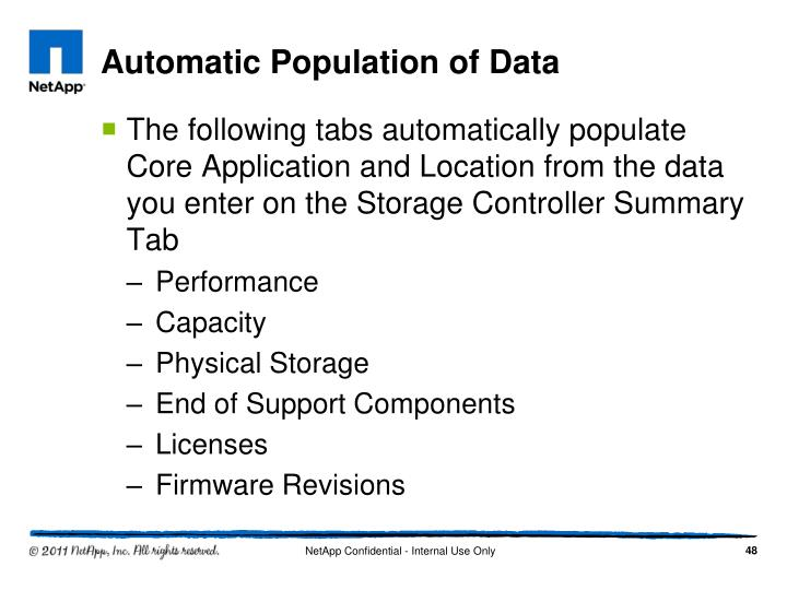 Automatic Population of Data