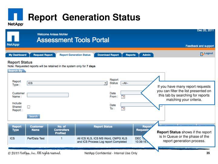 Report  Generation Status