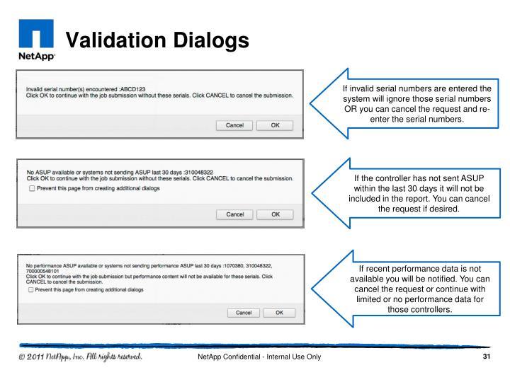Validation Dialogs
