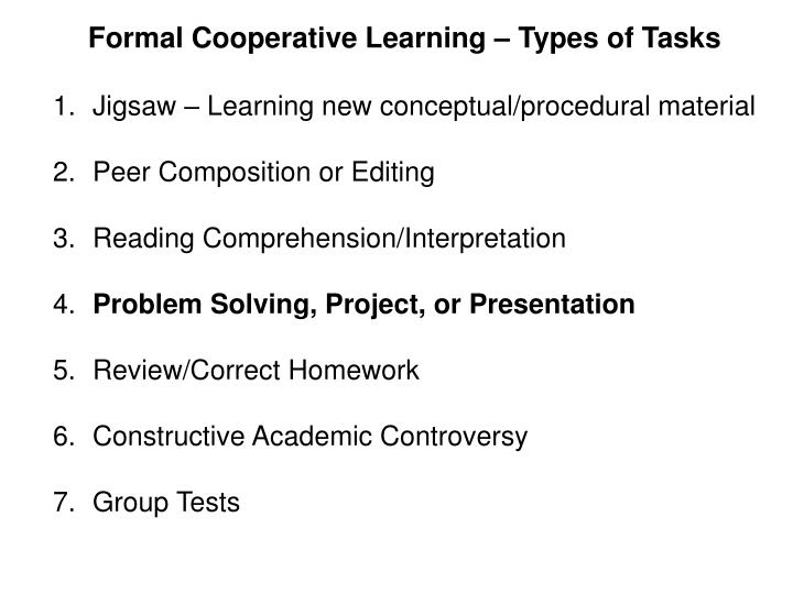 Formal Cooperative Learning – Types of Tasks