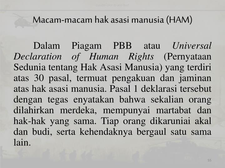 Macam-macam hak asasi manusia (HAM)