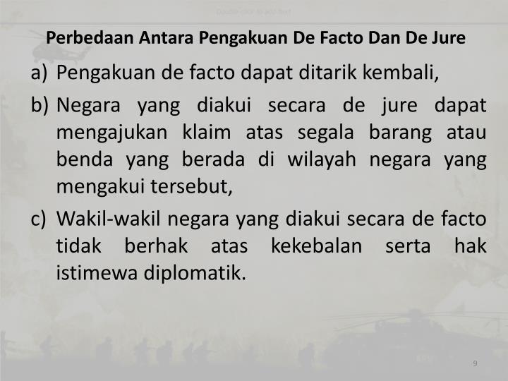 Perbedaan Antara Pengakuan De Facto Dan De Jure