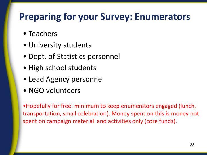 Preparing for your Survey: Enumerators