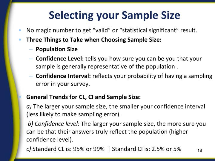 Selecting your Sample Size