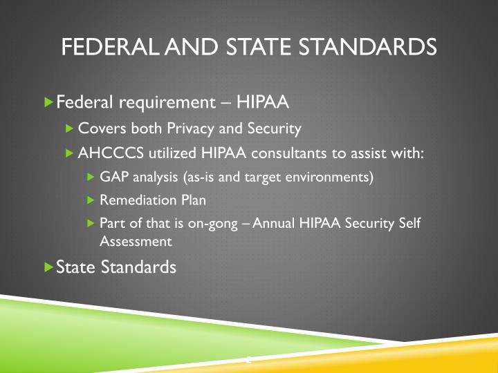 Federal and state standards