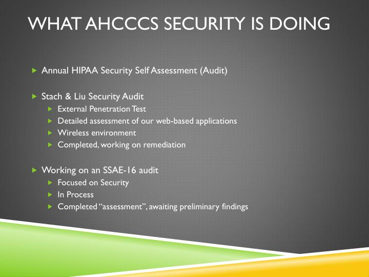 What AHCCCS security is doing