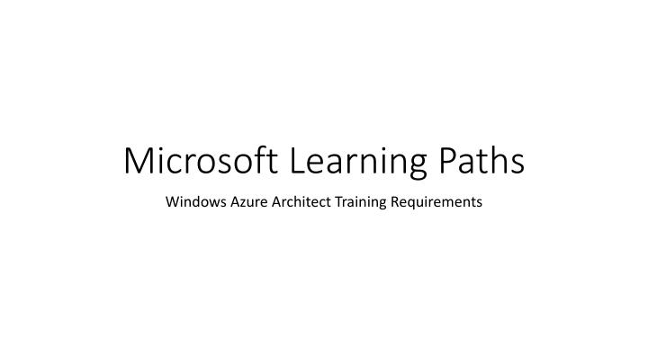 microsoft learning paths n.