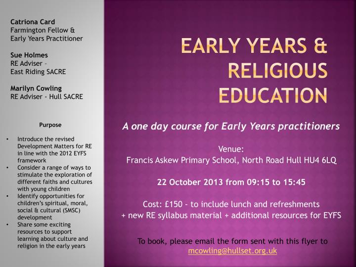 Early years religious education