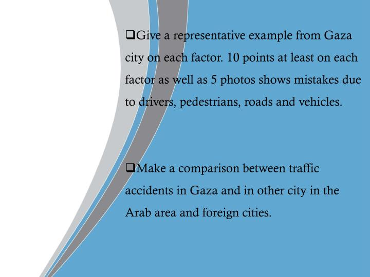 Give a representative example from Gaza city on each factor.