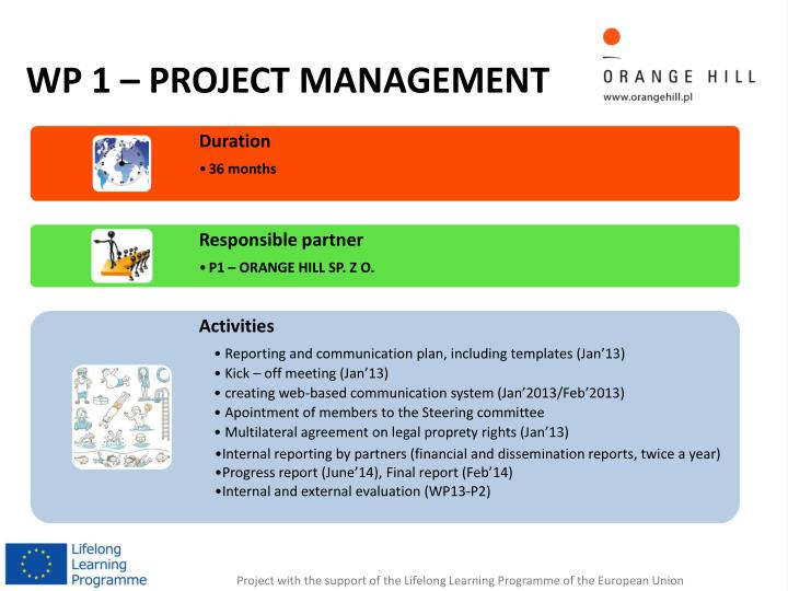 WP 1 – PROJECT MANAGEMENT