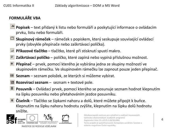 Formuláře VBA