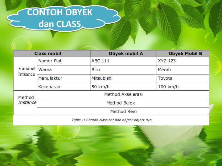 CONTOH OBYEK dan CLASS