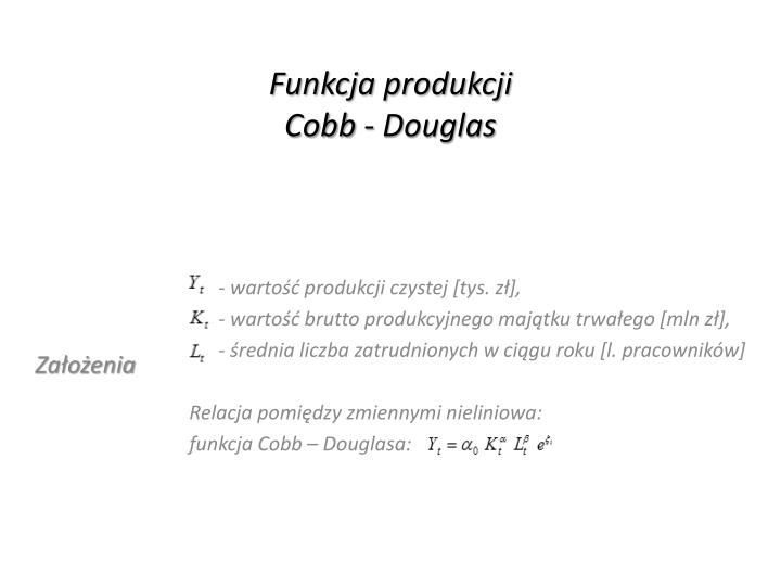 Funkcja produkcji cobb douglas
