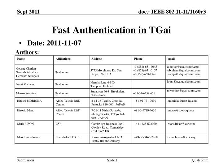 fast authentication in tgai n.
