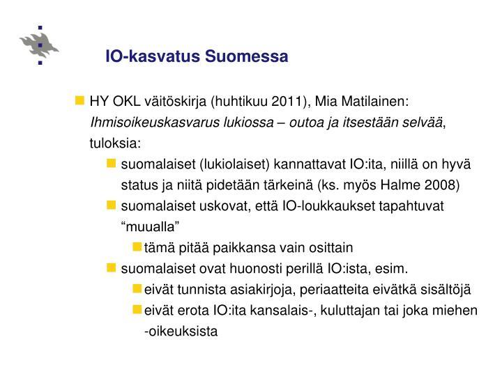 IO-kasvatus Suomessa